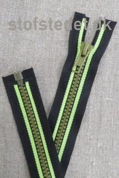 30 cm. delbar lynlås plast sort/lime