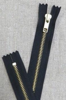 70 cm. metal lynlås i sort og guld - YKK