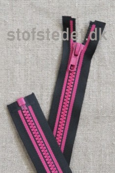 60 cm. delbar lynlås plast sort/pink