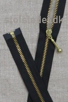 60 cm. delbar lynlås YKK med stang-kugle i sort og guld