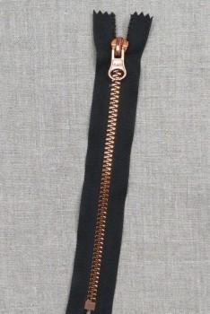 18 cm plast lynlås i sort med kobber tænder