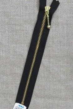 18 cm. metallynlås med kugle YKK 4 mm. i sort/guld
