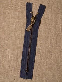 14 cm.lynlås i støvet blå oxyderet