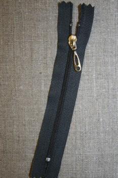 13 cm lynlås plast -guld vedhæng, grå