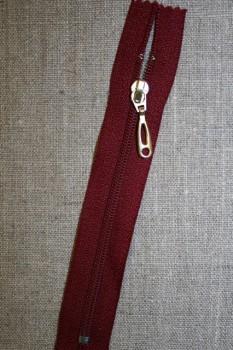 13 cm lynlås plast -guld vedhæng, mørk rød