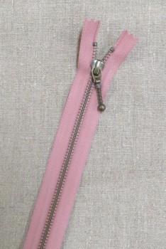 35 cm. lynlås m/stang-kugle 6 mm i antik messing i rosa