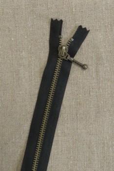 35 cm. lynlås m/stang-kugle 6 mm i antik messing i sort