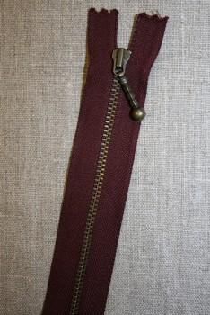 16 cm metal lynlås m/kugle bordeaux
