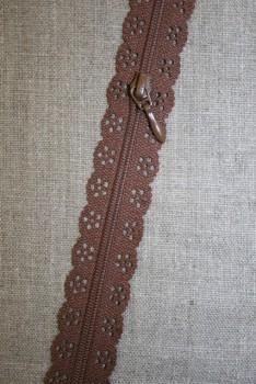 Blonde-lynlås i metermål, brun