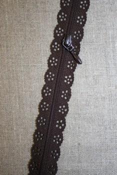Blonde-lynlås i metermål, mørkebrun
