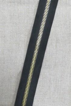 Metal Lynlås i metermål sort med guld tænder 10 mm.
