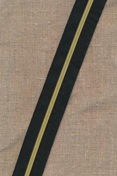 Lynlås i metermål sort/guld 6 mm.
