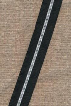 Lynlås i metermål sort/sølv 6 mm.