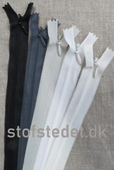 22 cm. Usynlige lynlåse - Sort Hvid Grå