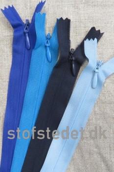 22 cm. Usynlige lynlåse - Blå