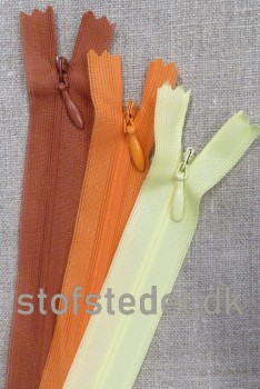 22 cm. Usynlige lynlåse - Orange - Lysegul