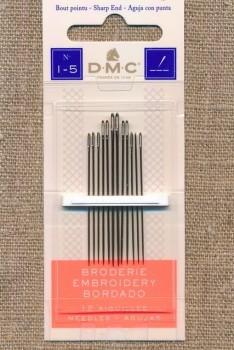 Broderinåle med spids, 1-5 DMC