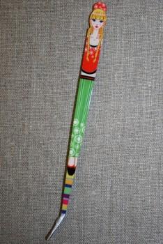 Pincet 15 cm. med pige rød-grøn