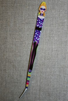 Pincet 15 cm. med pige sort-lilla