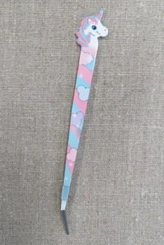 Pincet 15 cm. med enhjørning i hvid, aqua, koral