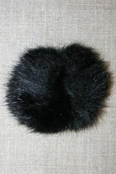 Pels-pompon af kanin, 6 cm. sort