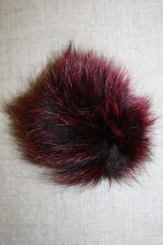 Pels-pompon af ræv, 10-12 cm. bordeaux
