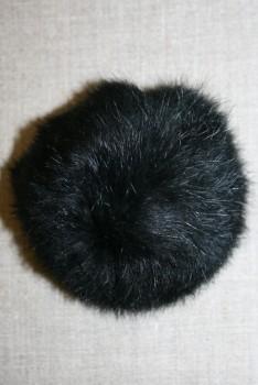 Pels-pompon af kanin, 100 mm. sort