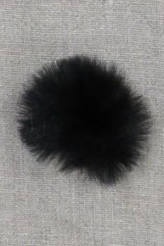 Pels-pompon i akryl i sort, 5 cm.