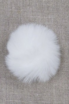 Pels-pompon i akryl i hvid, 5 cm.