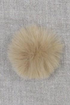 Pels-pompon i akryl i beige, 5 cm.