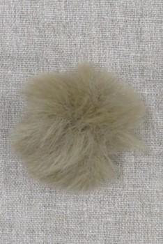 Pels-pompon i akryl i natur/mørk sand, 5 cm.