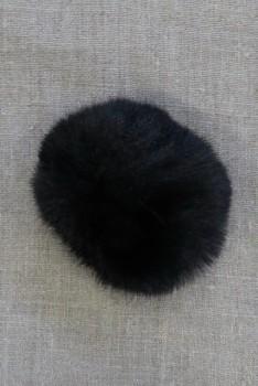 Pels-pompon i akryl i sort, 8 cm.