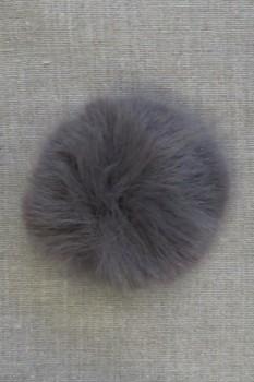 Pels-pompon i akryl i grå, 8 cm.