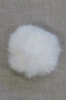Pels-pompon i akryl i knækket hvid, 8 cm.