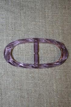 Plast spænde oval klar 20 mm. lilla