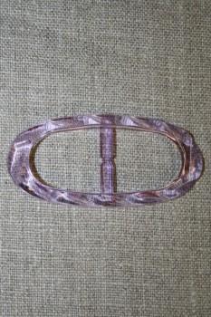 Plast spænde oval klar 20 mm. lyselilla