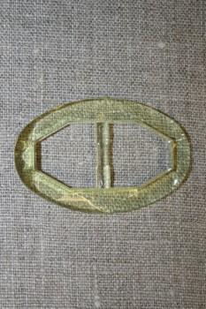 Plast spænde oval klar 20 mm. lysegul/lime