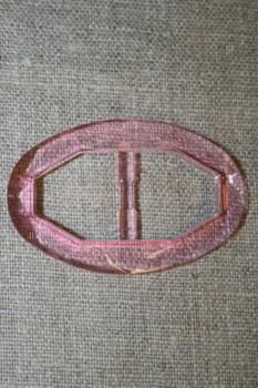 Plast spænde oval klar 20 mm. lys pink