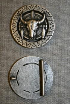 Rundt bælte-spænde med tyr, gl.sølv