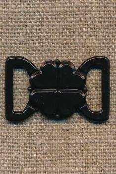 Bikini-lukning i sort plast 13 mm.