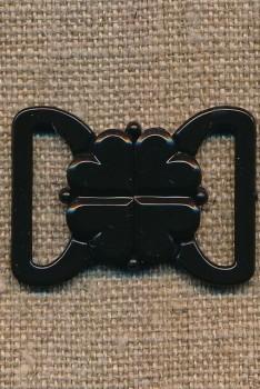 Bikini-lukning i sort plast 20 mm.