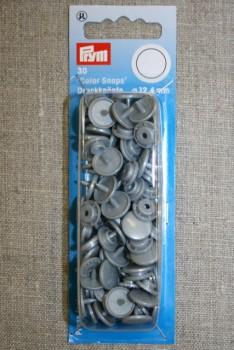 Plast-trykknap rund, sølv