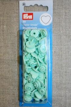 Plast-trykknap hjerte, mint