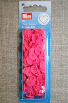 Plast-trykknap hjerte, pink