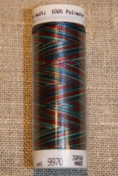 Broderitråd Mettler, multi mørkerød-turkis-blå