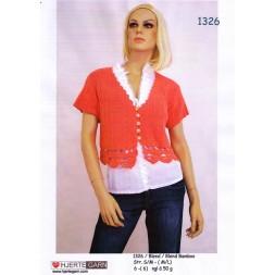1326 Kort bluse m/hæklede kanter-20