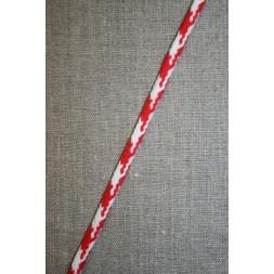 Anoraksnor 6 mm. i hanefjeds-look, hvid/rød-20