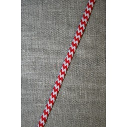 Anoraksnor 5 mm. m/zig-zag-mønster, hvid/rød-20