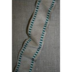 Bånd med metaltråde hør-grøn/hvid, 40 mm.-20