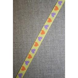 Grosgrain-bånd m/hjerter, gul/orange/lilla-20